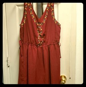 Burgundy dress with embroidered flowers